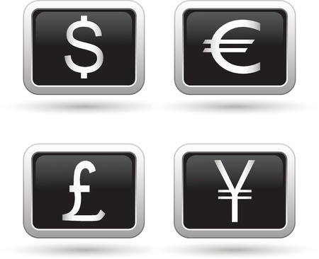 Dollar, euro, yen and pound icons  Vector illustration Vector
