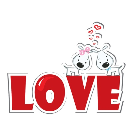 sticker vector: Funny dogs  couple on the red word  love   Sticker  Vector illustration