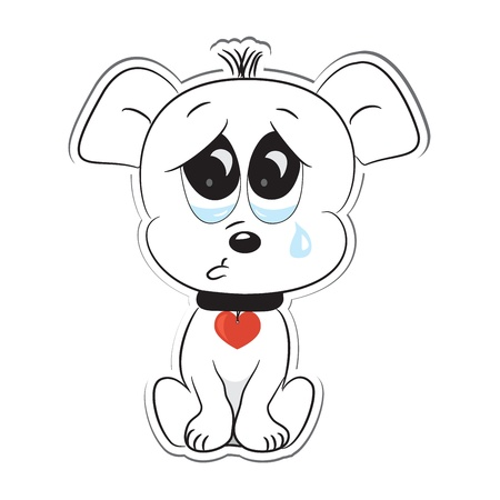 Sad dog  Sticker  Vector illustration Vector