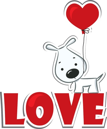 Dog with the heart on the red word  love   Sticker  Vector illustration Vector
