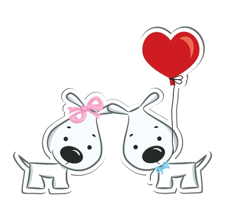 dog rose: Funny dogs  couple in love  Sticker  Vector illustration Illustration