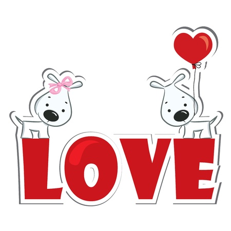 dog group: Funny dogs  couple on the red word  love   Sticker  Vector illustration