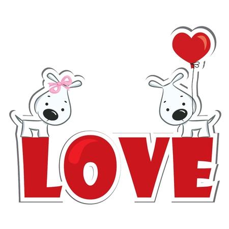 Perros pareja divertida en la ilustración de la palabra amor rojo Vector Etiqueta