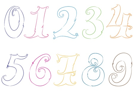 Hand drawn numbers  Vector Vector