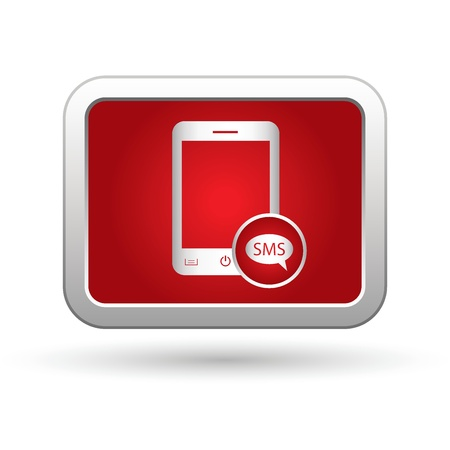 comment: Phone icon with sms menu  Vector illustration