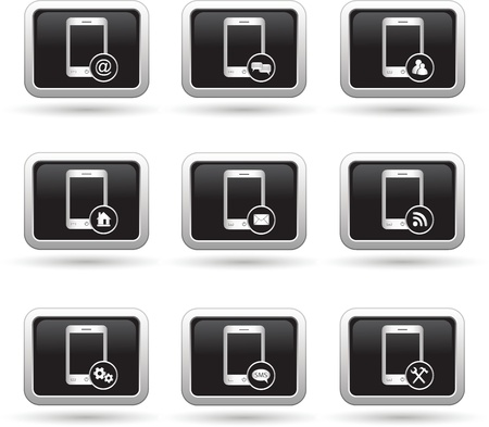 oft: Set of phone icons with different menu  Vector illustration