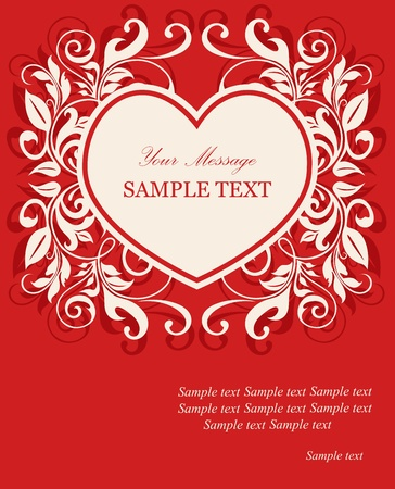 Damask invitation card with heart and floral elements  Vector illustration  Vector