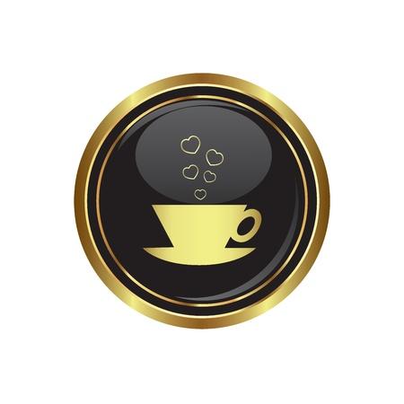 cafe internet: Copa con corazones de citas en el icono negro con oro ilustración vectorial ronda botón