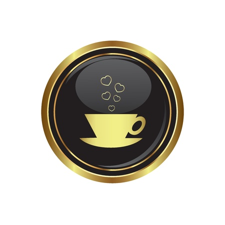 internet cafe: Cup with hearts dating icon on the black with gold round button  Vector illustration Illustration