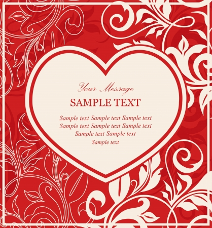 Red invitation card with heart and floral elements  Vector