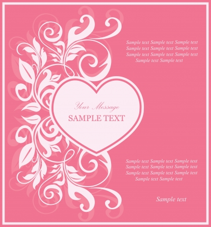 date of birth: Beautiful card with heart and floral elements  Illustration