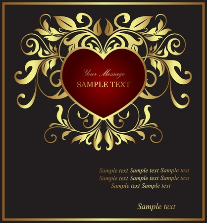 Beautiful card with heart and floral elements  Ilustrace