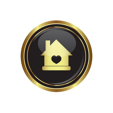 Home icon with heart icon on the black with gold round button  Vector illustration Vector