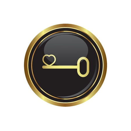 Key to your heart conceptual icon on the black with gold round button  Vector illustration Vector