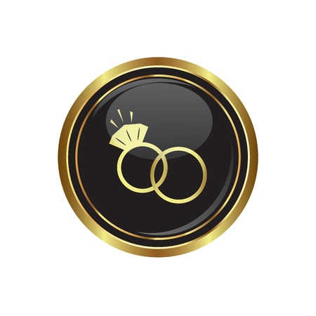 Wedding rings icon on the black with gold round button  Vector illustration Vector
