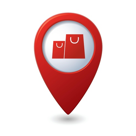 Map pointer with shopping bags icon  Vector illustration
