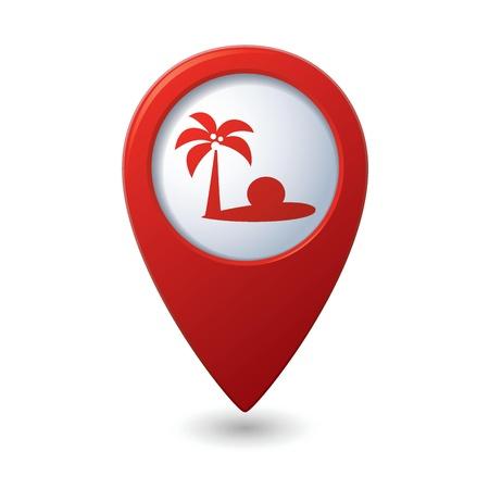 tour guide: Mapa del puntero con la ilustraci�n vectorial playa tropical icono Vectores