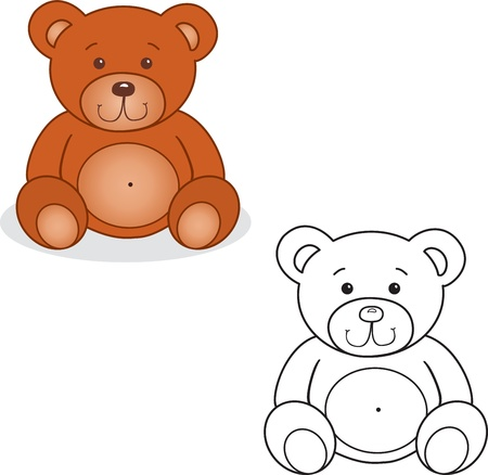 Coloring book  Bear toy vector illustration  Isolated on white