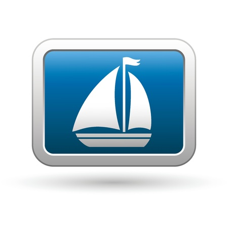Sailboat icon on the blue with silver rectangular button  Vector illustration Stock Vector - 18265524