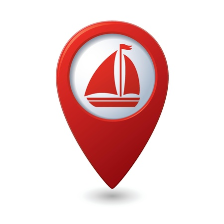 Map pointer with sailboat icon  Vector illustration Stock Vector - 18265579
