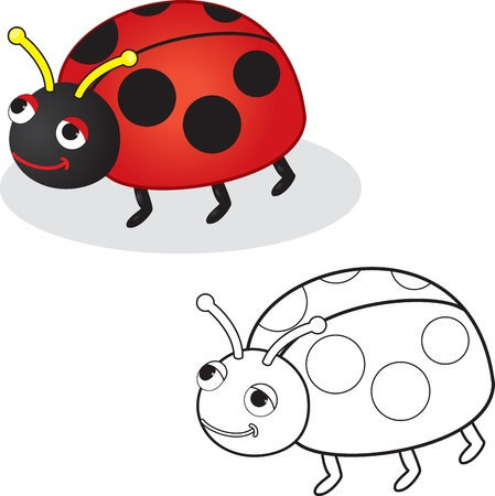 Coloring book  Ladybug toy  Vector illustration  Isolated on white  Vector