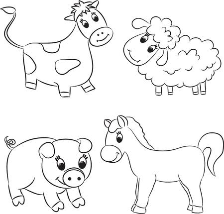 Vector set of outlined cartoon animals  Vector
