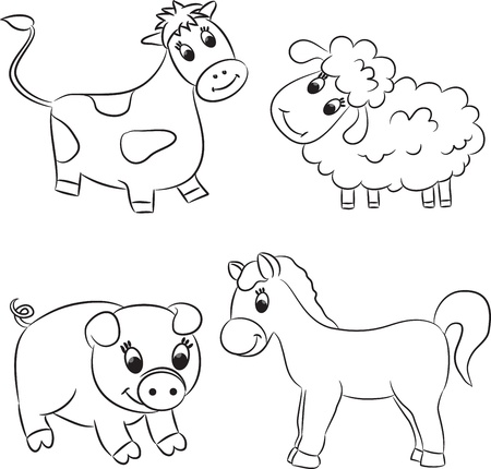 baby lamb: Vector set of outlined cartoon animals