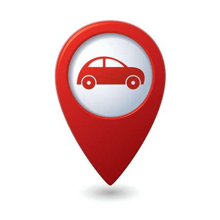 red pin: Map pointer with car icon  Vector illustration