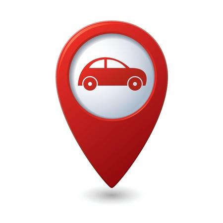 Pointeur de la carte avec l'icône Vector illustration de voiture Vecteurs
