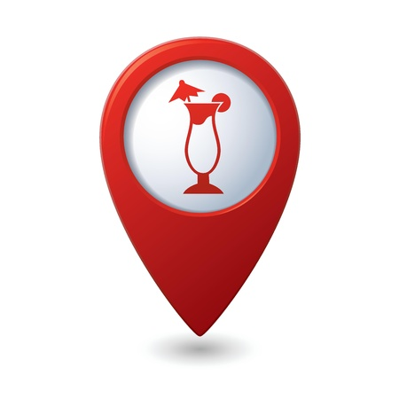 map pointer: Map pointer with cocktail icon  Vector illustration