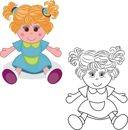 Coloring book  Girl doll toy vector illustration on white background