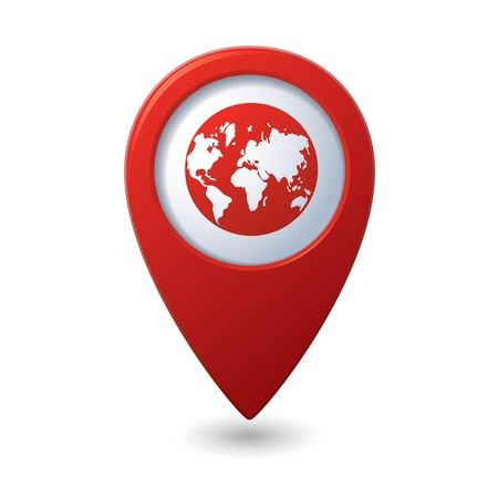 tour guide: Map pointer with earth globe icon  Vector illustration