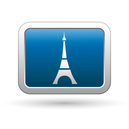 Eiffel tower icon on the blue with silver rectangular button  Vector illustration Vector