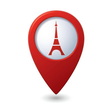 tourist icon: Map pointer with Eiffel tower icon  Vector illustration