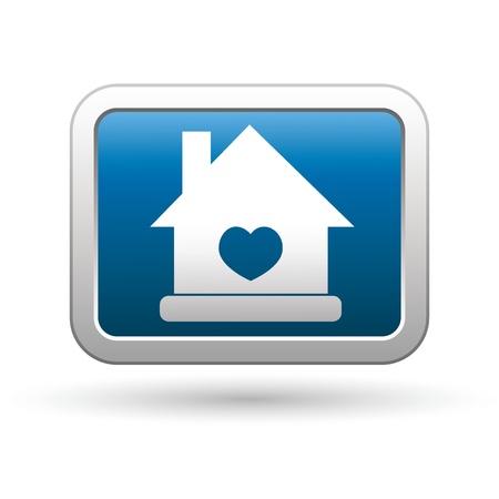 icono inicio: Inicio icono con el coraz�n en el azul con plata rectangular ilustraci�n vectorial bot�n Vectores