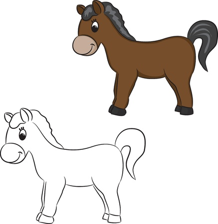 colour image: Cartoon horse - vector illustration