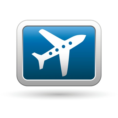 takeoff: Airplane icon on the blue with silver rectangular button  Vector illustration Illustration