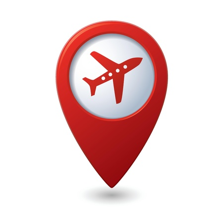 avia: Map pointer with airplane icon  Vector illustration