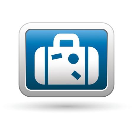 packing suitcase: Icona Valigia sul blu con argento rettangolare pulsante vettore