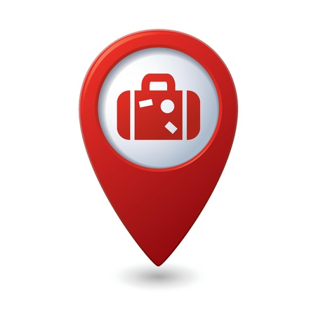 excursions: Map pointer with suitcase icon  Vector illustration