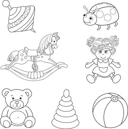 rocking horse: Set of outlined baby s toys elements Vector illustration