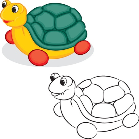 book vector: Turtle toy  Coloring book  Vector illustration