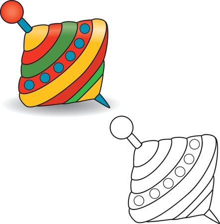 molinete: Libro para colorear Humming-top, molinete - ilustraci�n vectorial Vectores