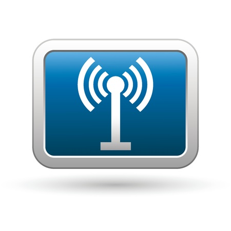 oftware: Wireless icon on the blue with silver rectangular button  Vector illustration Illustration
