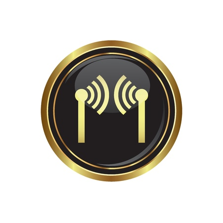 Wireless icon on the black with gold round button  Vector illustration Stock Vector - 18406706