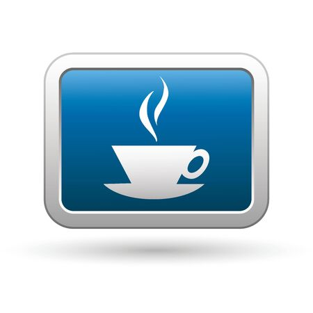 pause button: Cup icon on the blue with silver rectangular button  Vector illustration