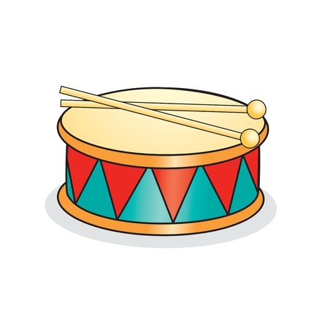 drumsticks: Toy drum and drumsticks  Vector illustration Illustration