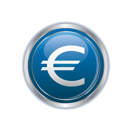 dollar sign icon: Euro icon on the blue with silver button  Vector illustration Illustration