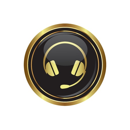 Headphones on the black with gold round button  illustration Stock Vector - 18406709