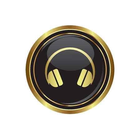Headphones on the black with gold round button  Vector illustration Stock Vector - 18406707
